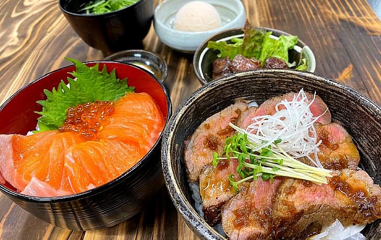 甲斐サーモンと甲州ワインビーフの贅沢2種丼(イメージ)