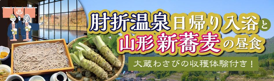 肘折温泉日帰り入浴と山形新蕎麦の昼食~大蔵わさびの収穫体験付き!~